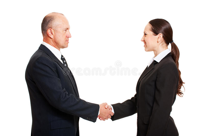 Download Serious Man Greeting The Young Woman Stock Photo - Image: 13639480