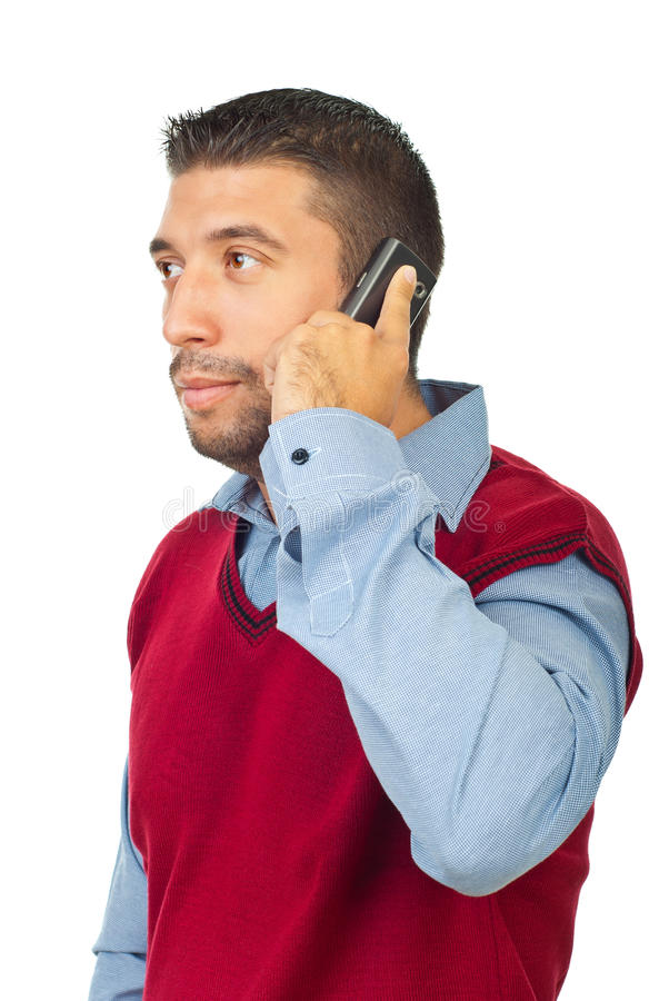 Download Serious Man On Phone Mobile Looking Away Stock Image - Image: 16417697