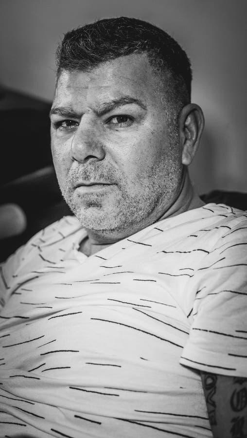 Serious man portrait black white royalty free stock photos