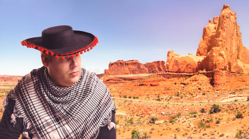 Serious man in sombrero stock photography
