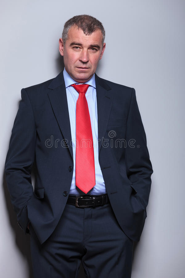 Serious middle aged business man looking at the camera royalty free stock images