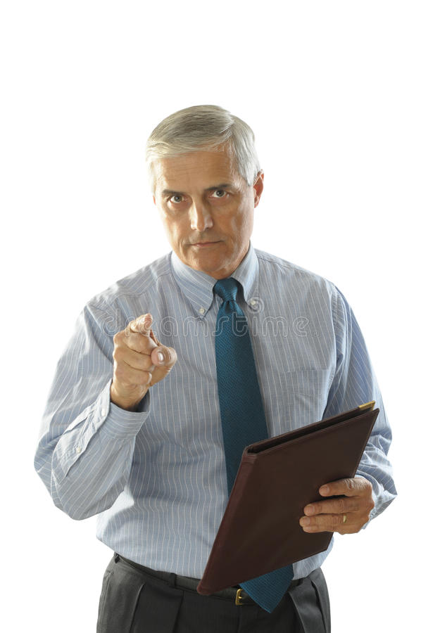 Serious Middle Aged Businessman Pointing stock image