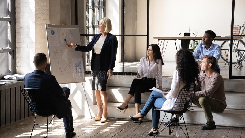 Serious middle aged businesswoman mentor give presentation in office royalty free stock images