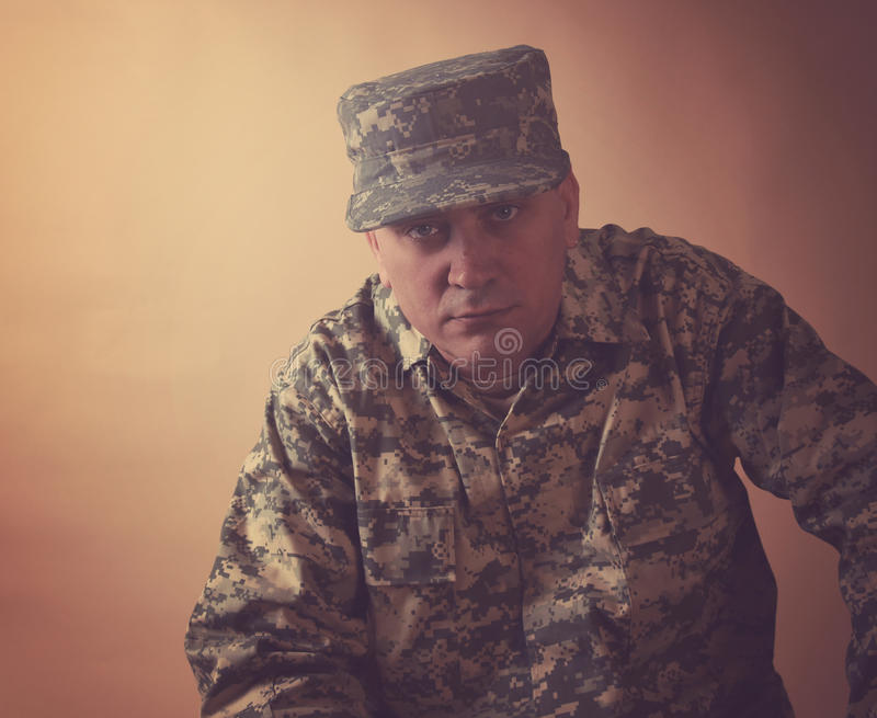 Serious Military Army Man in Studio royalty free stock image