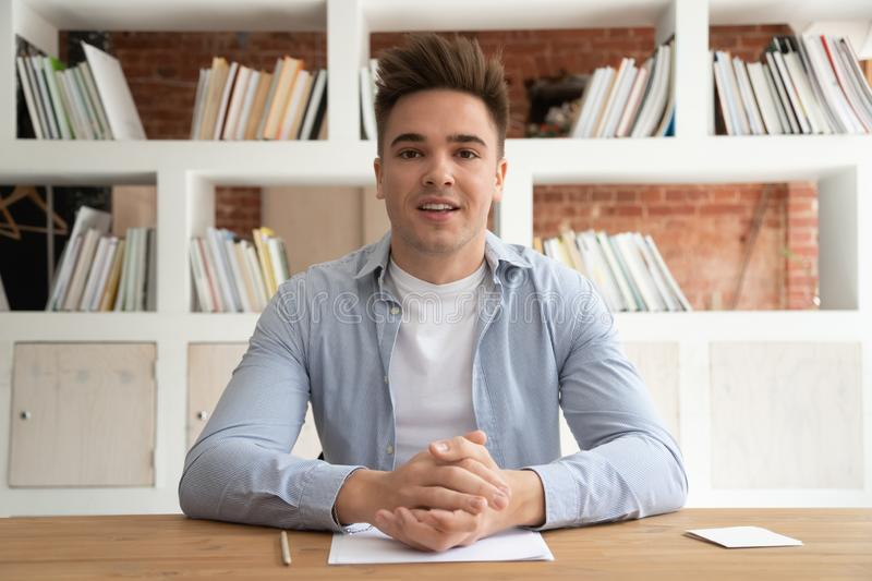 Male coach record video training talking with viewers stock images