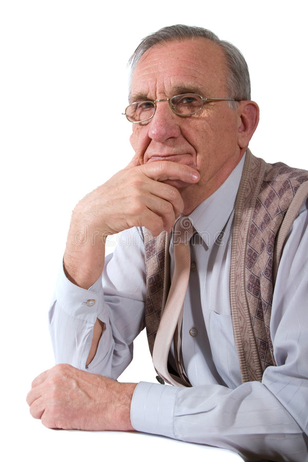 Serious old man stock photography