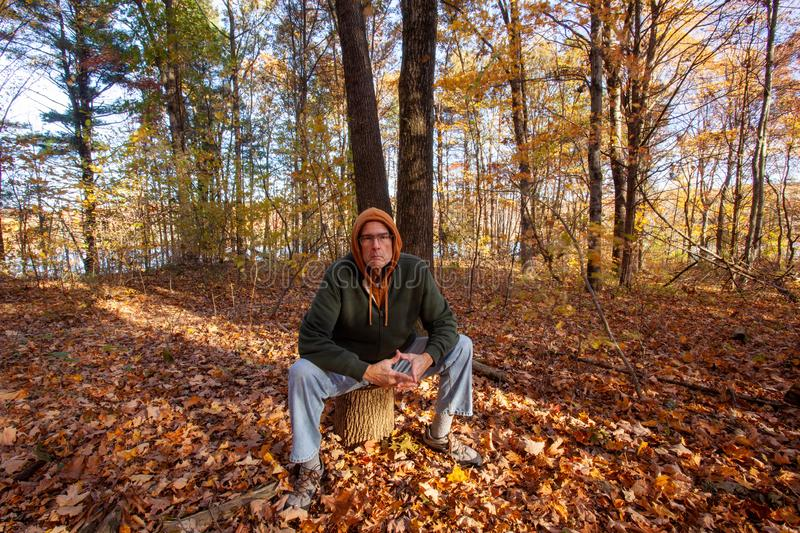 Serious older man sitting on stump in woods stock photos
