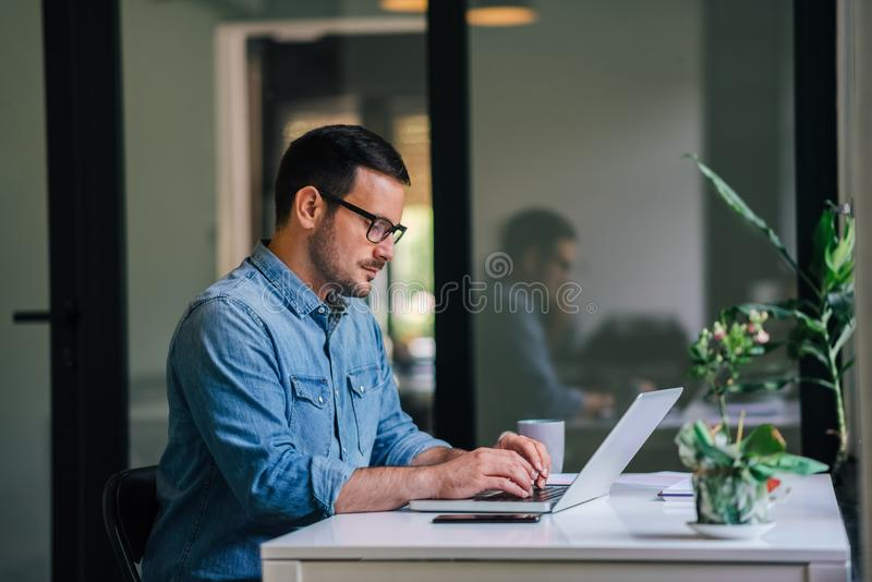 Serious pensive thoughtful focused young casual businessman or entrepreneur in office looking at and working with laptop making royalty free stock photo