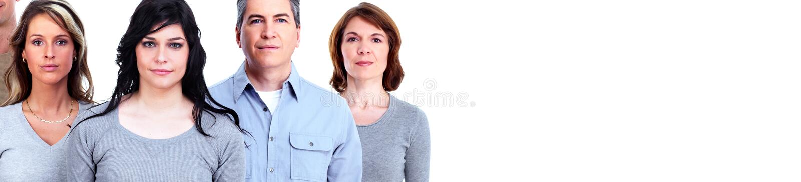 Serious people faces. Serious young people group portrait over white background royalty free stock photos