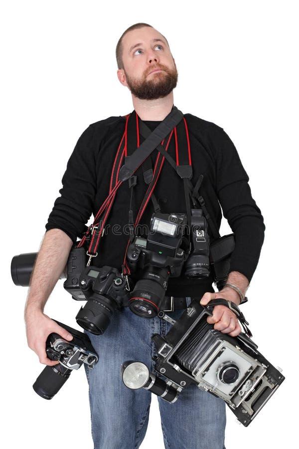 Serious photographer stock photos