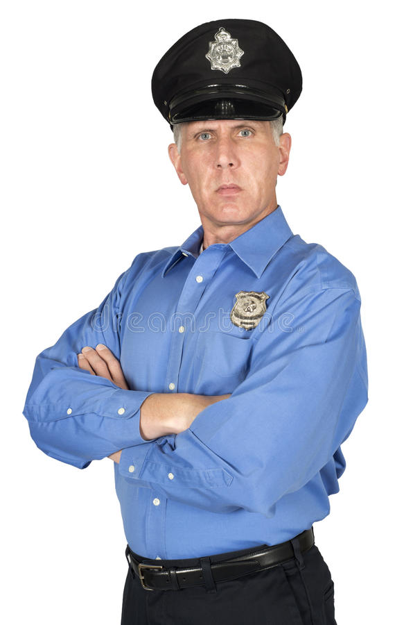 Serious Police Officer, Cop, Security Guard Isolated. A serious police officer, cop, or security guard. The man has his arms folded giving the male a pose of stock photography