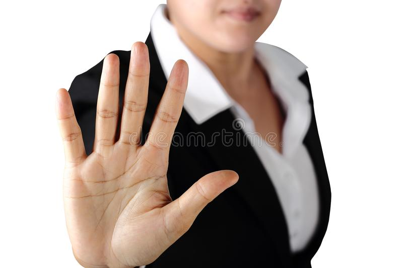 Serious politician woman shows stop sign talk to hand gesture stock photography