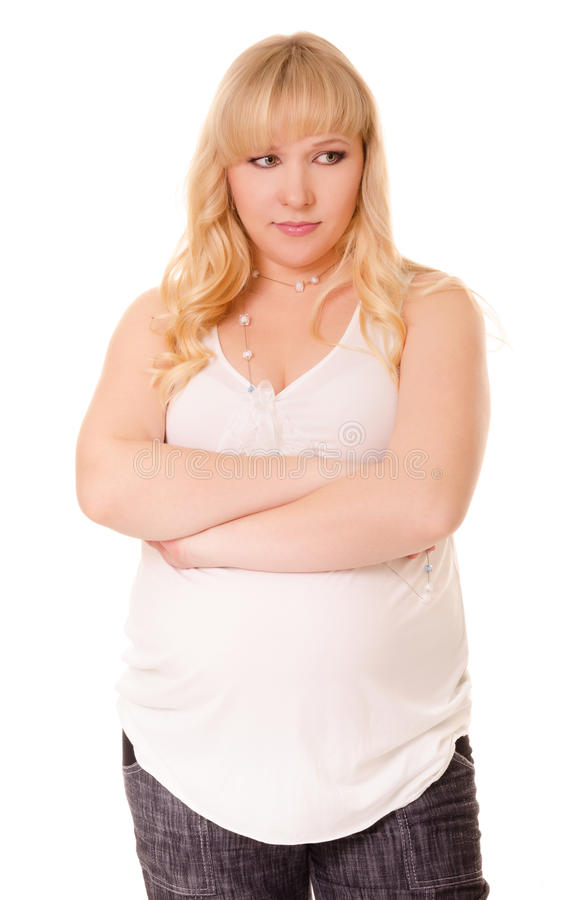 Serious pregnant woman stock image