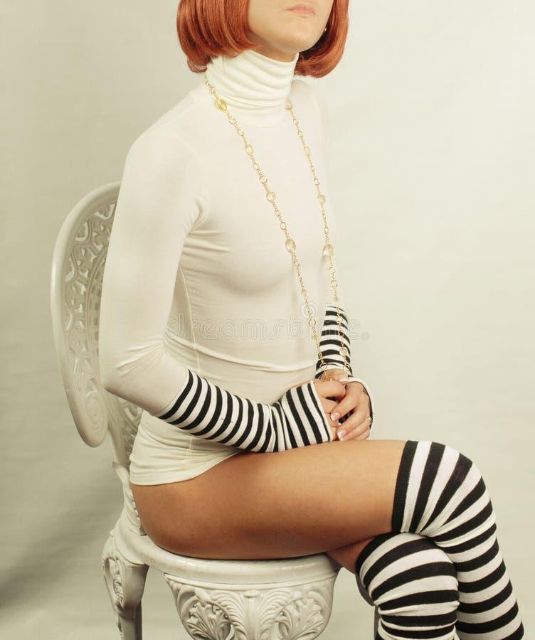 Serious retro girl royalty free stock photo