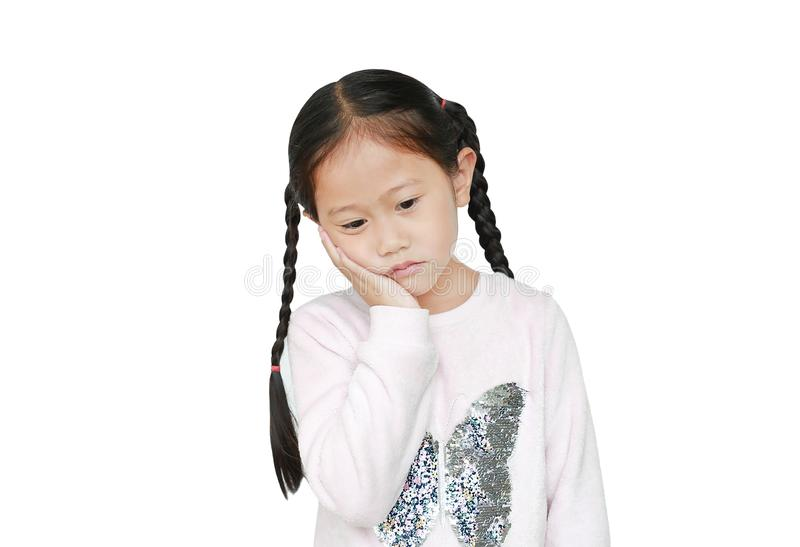 Serious and sad Asian little child girl with posture her hand on cheek isolated over white background royalty free stock image
