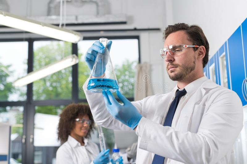 Serious Scientist Looking At Flask With Blue Liquid In Laboratory Over Group Of Scientific Researchers Making. Experiments In Modern Lab stock images