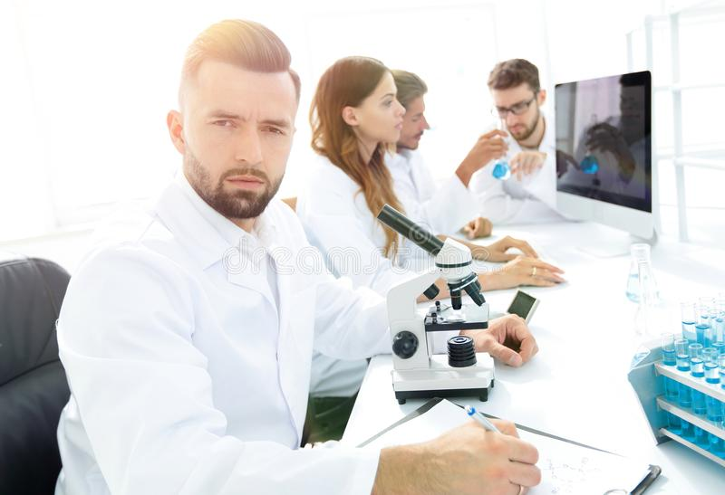 Serious scientists working in the laboratory royalty free stock photos