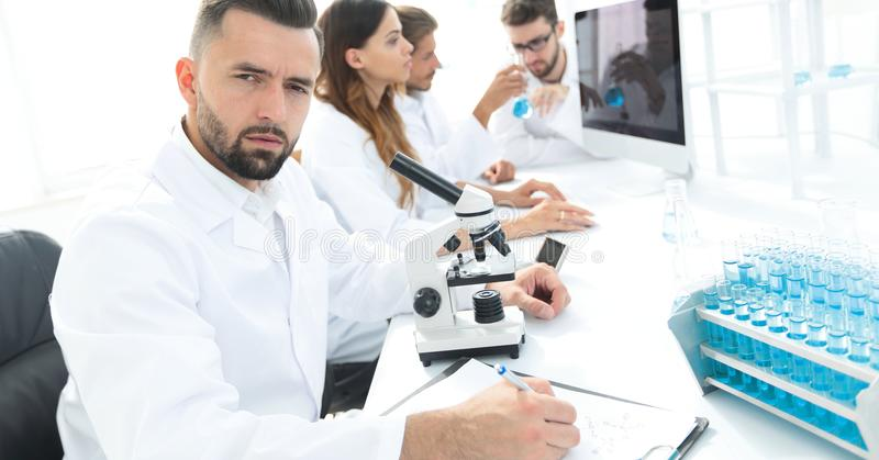Serious scientists working in the laboratory stock photo