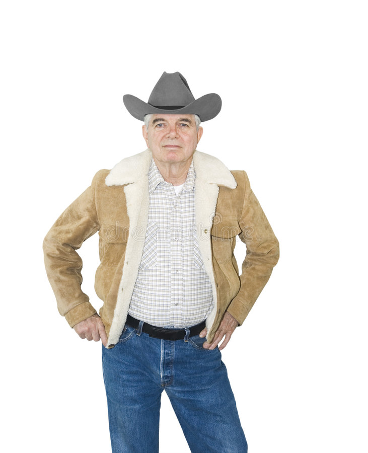 Download Serious Senior Cowboy stock image. Image of grey, hands - 8839221