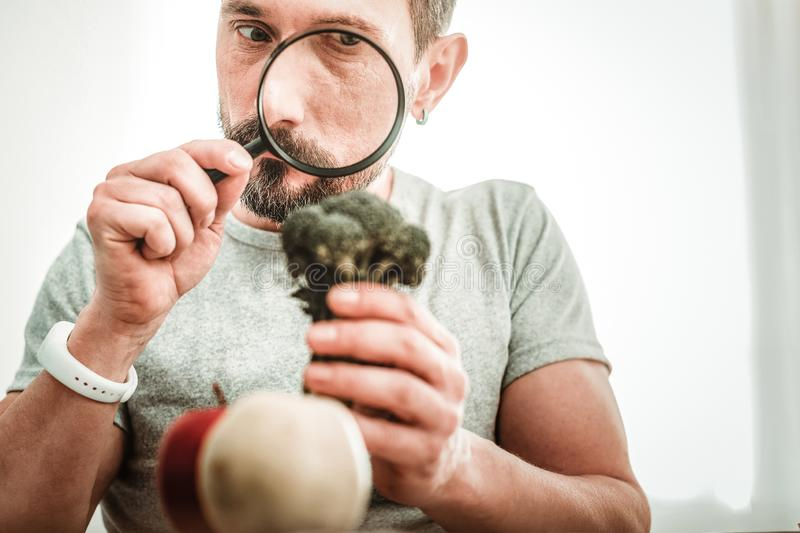 Serious smart man looking into the magnifying glass stock photography