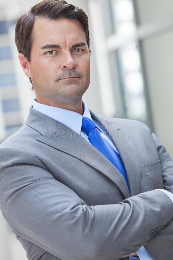 Serious Smart Thoughtful Businessman stock photography