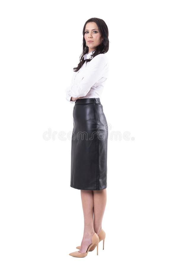 Serious successful female teacher of businesswoman manager with crossed arms. stock photo