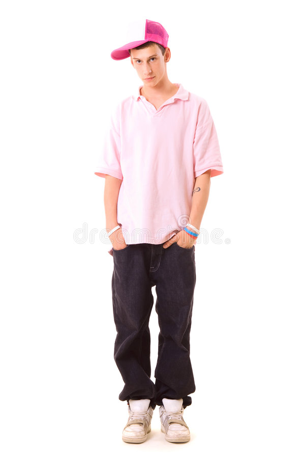 Serious teenager in hip hop wear stock image