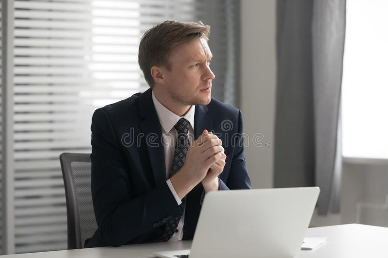 Serious thoughtful businessman feel doubtful concerned about business challenge royalty free stock photos