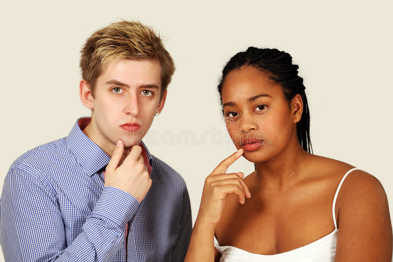 Serious thoughtful couple royalty free stock images