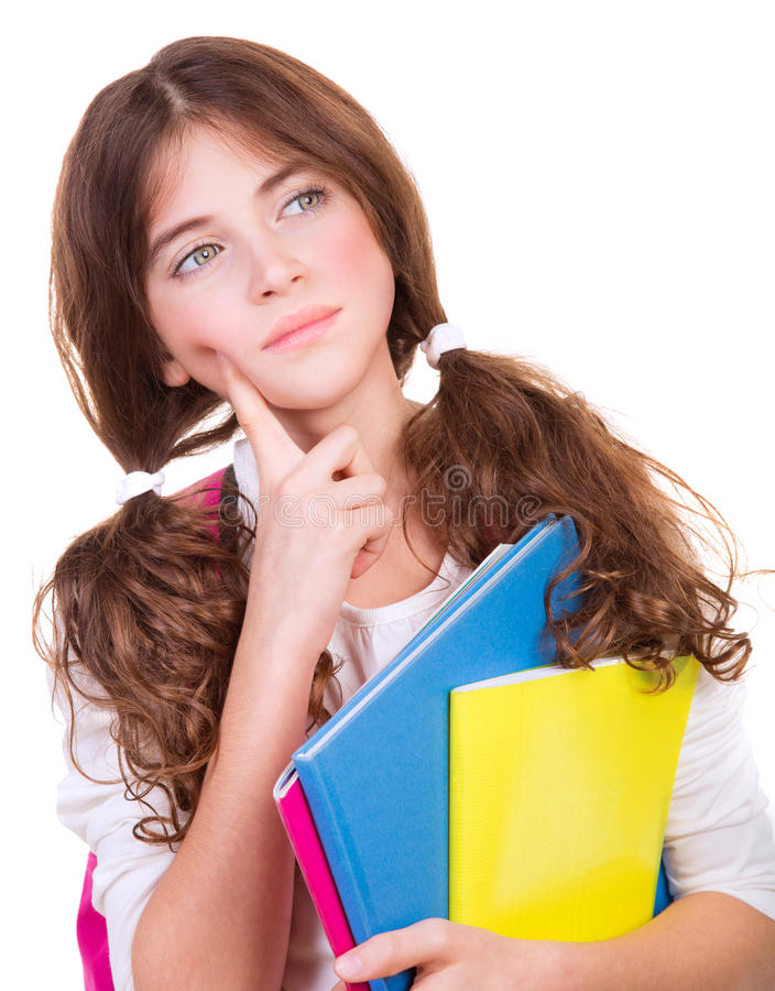 Serious thoughtful schoolgirl royalty free stock photo