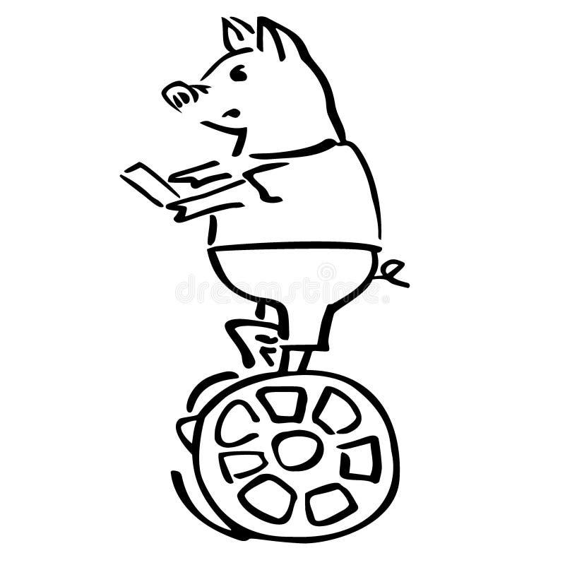 Serious vector pig balancing on caramel segway stock illustration