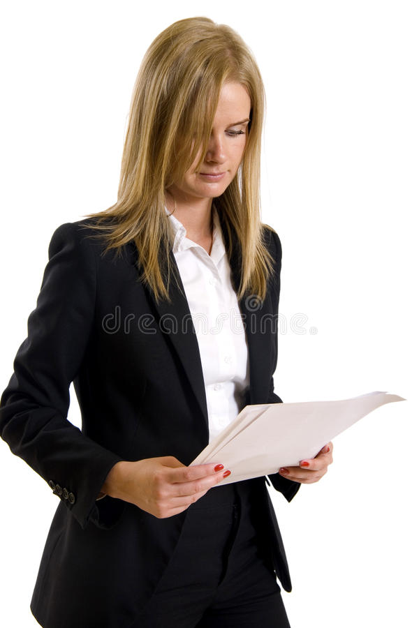 Serious woman read document royalty free stock image