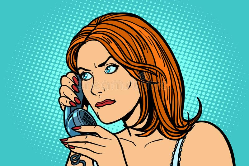 Serious Woman talking on the phone. Emotions. stock illustration
