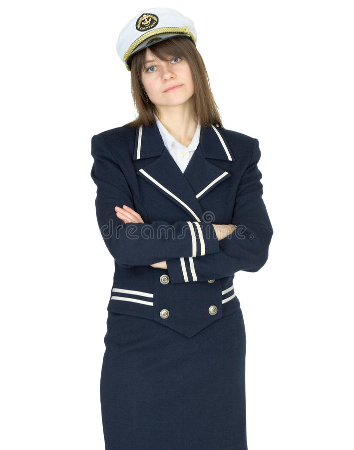 Serious woman in uniform sea captain stock images