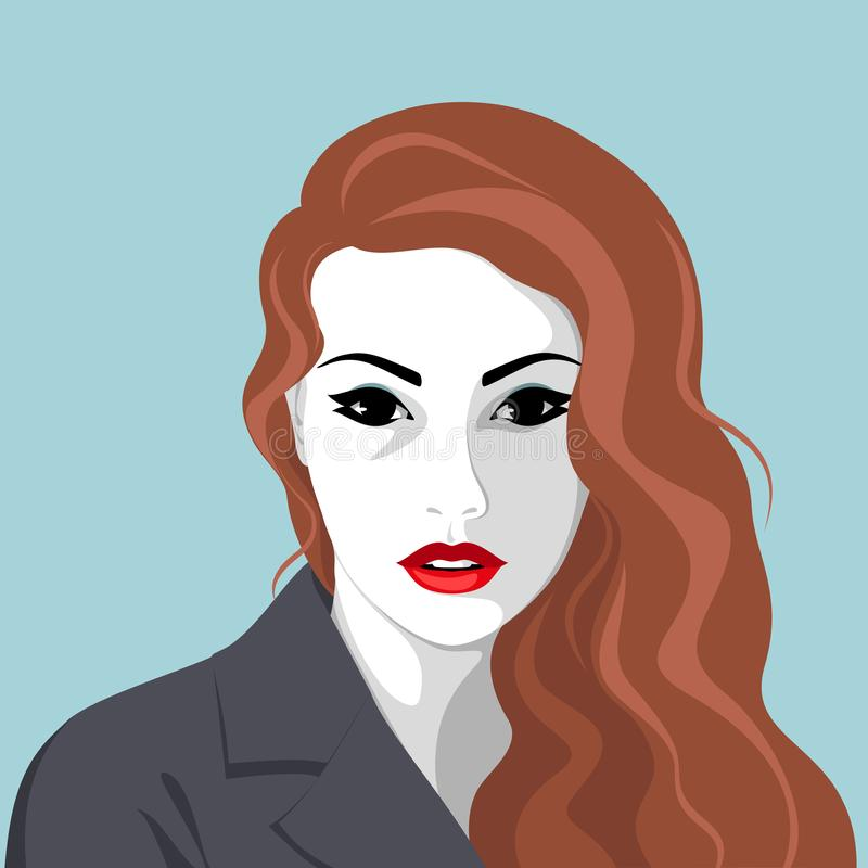 Serious woman wearing jacket stock illustration