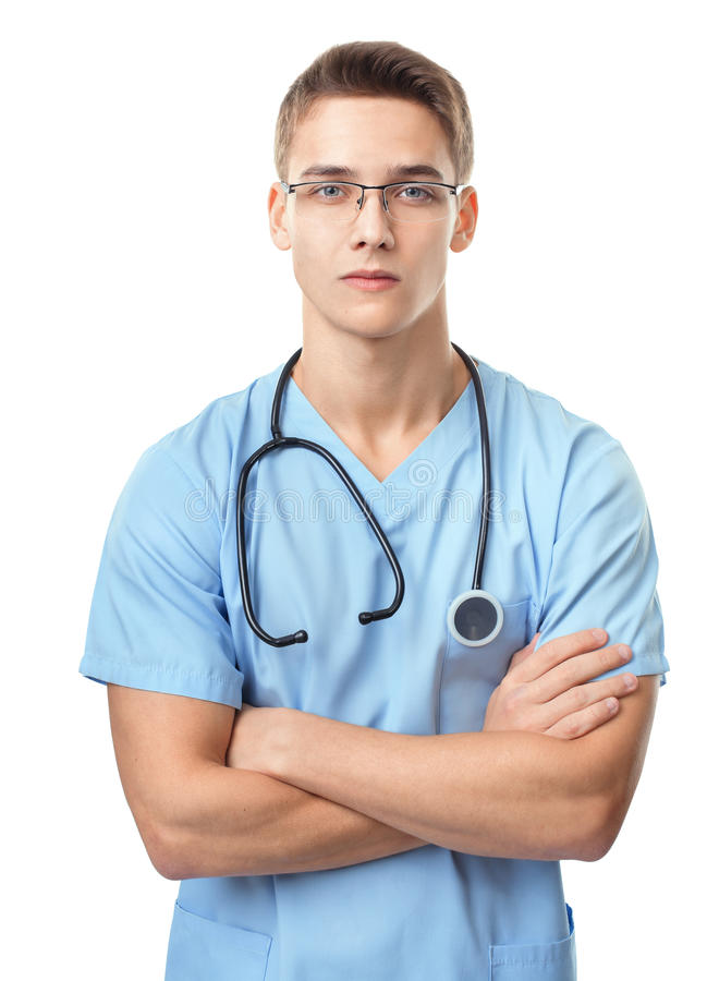 Serious young doctor royalty free stock image