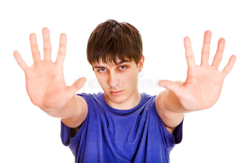 Young Man show a Palms royalty free stock photos