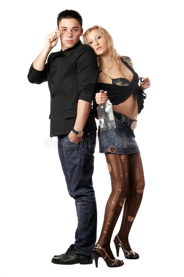 Download Serious Young Man And Young Blonde With A Bottle Stock Photo - Image of pantyhose, girl: 22688564