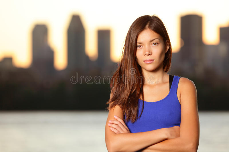 Serious young urban girl portrait in city stock image