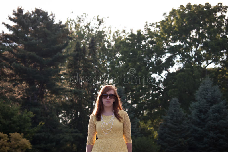 Serious Young Woman outside stock images