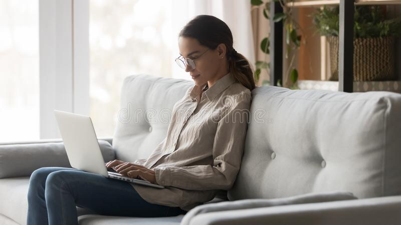 Serious young woman study online on laptop at home royalty free stock image