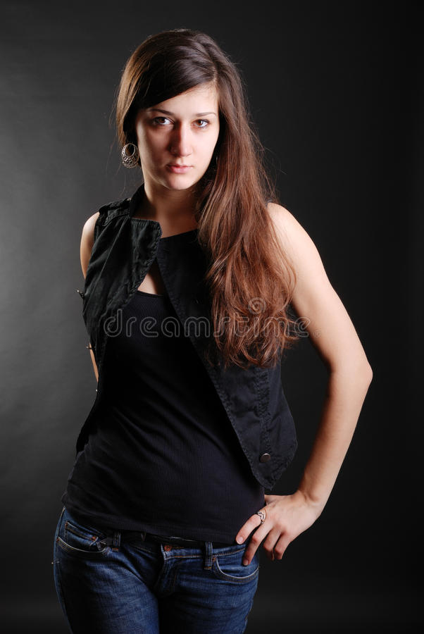 Serious youth woman royalty free stock photo