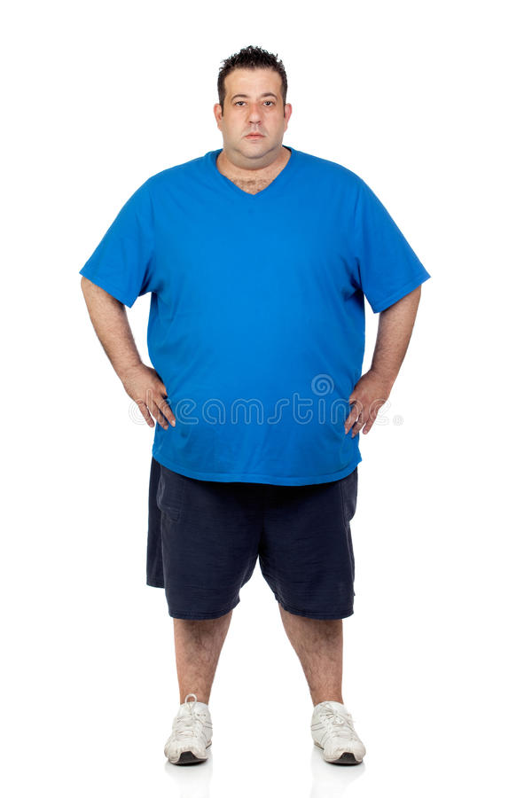 Seriously fat man royalty free stock photo