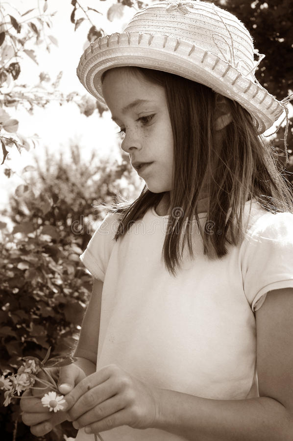 Seriously little girl royalty free stock photo