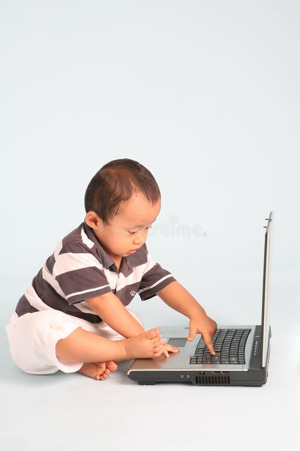 SeriousToddler per mezzo di un computer portatile immagini stock