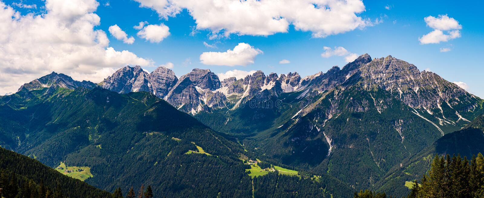 Grand landscape panorama of Serles mountain peaks. Serles mountain peaks, from the Austrian Tyrol, in the Alps, captured with a multiple shot high resolution stock photo