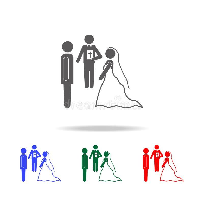 serment des icônes de jeune marié et de jeune mariée Éléments du mariage dans les icônes colorées multi Icône de la meilleure qua illustration libre de droits