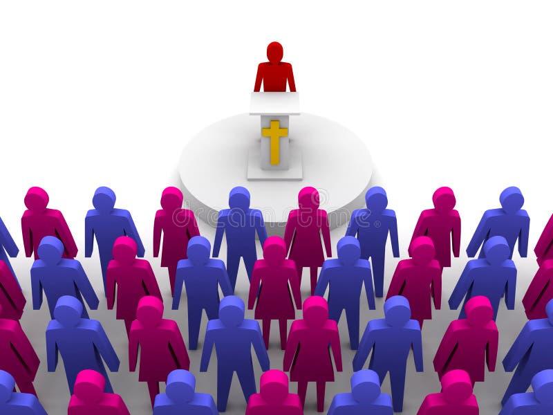 Sermon dans l'église. Pasteur, prédicateur. illustration stock