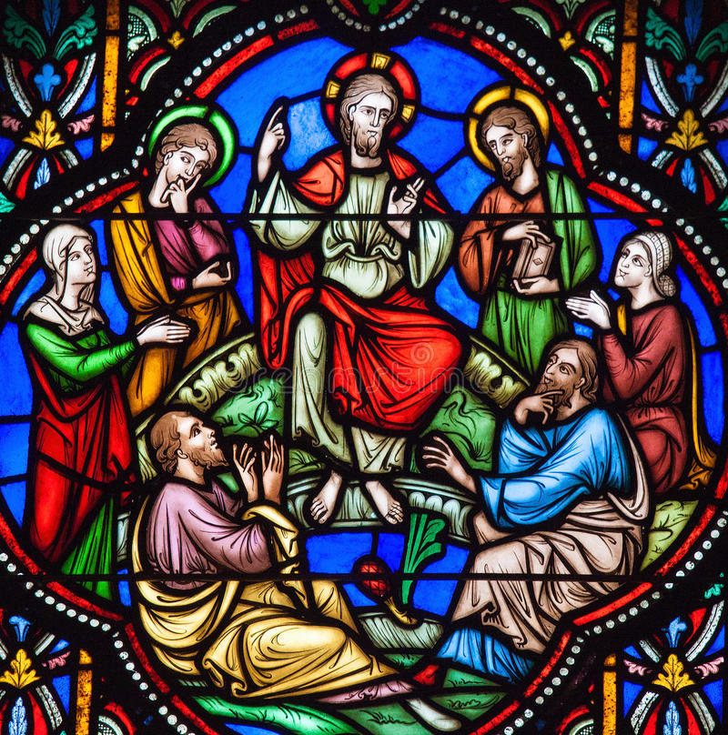 Sermon on the Mount Stained Glass. Stained glass window depicting Jesus and the Sermon on the Mount in the cathedral of Brussels, Belgium stock image