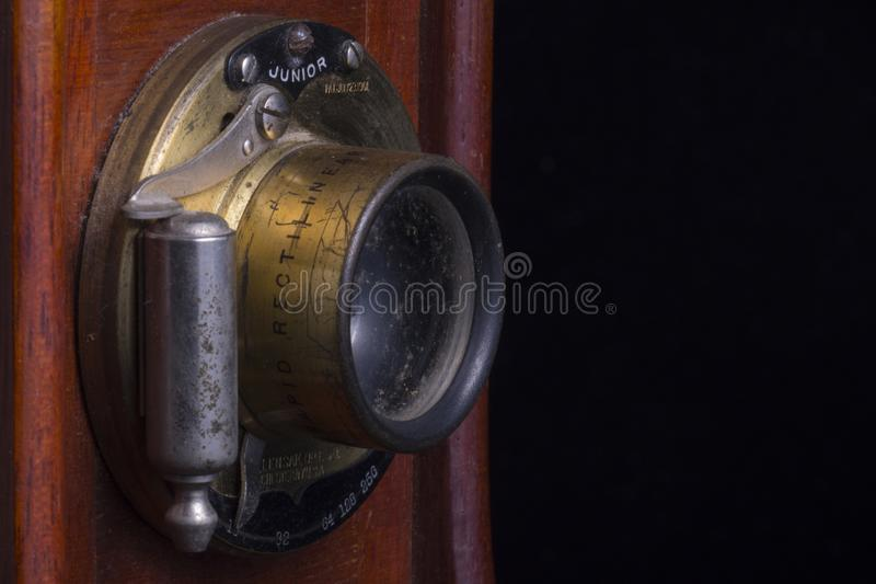 Antique Camera Wood and Lens Closeup royalty free stock photography